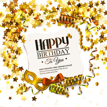 Vector birthday card with golden stars and pearls, curling ribbons, carnival mask and confetti.