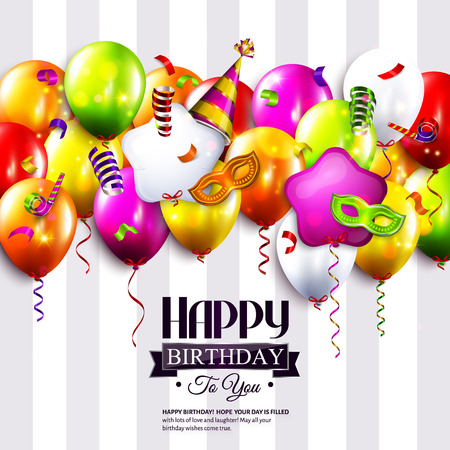 Vector birthday card with colorful balloons, curling ribbons, carnival mask, hat and confetti on stripes background.