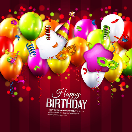 party streamers: Vector birthday card with colorful balloons, curling ribbons, carnival mask, hat and confetti on stripes background.
