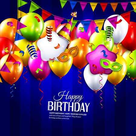 Vector birthday card with colorful balloons, bunting flags, curling ribbons, carnival mask, hat and confetti on stripes background.