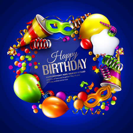 Vector birthday card with colorful balloons, curling ribbons, carnival mask, hat and confetti on blue background.