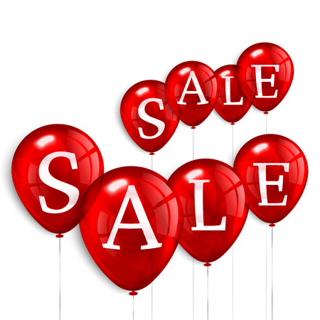 discount: Four red flying party balloons with text SALE. Illustration