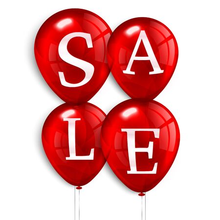 red balloons: Four red flying party balloons with text SALE. Illustration
