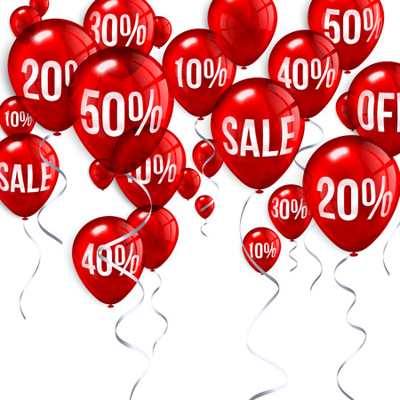 sale tag: Red flying party balloons with text SALE and discount. Illustration
