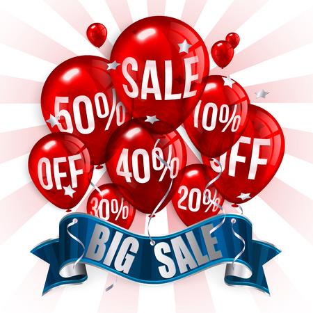 discount tag: Flying balloons with ribbon, text SALE and discount.