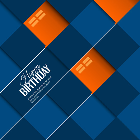 Vector abstract birthday card orange balloons on square blue background.