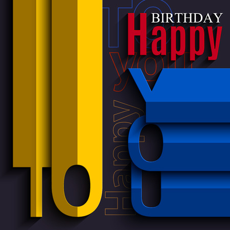 folded paper: Vector abstract birthday card with wishes text in the style of flat folded paper.