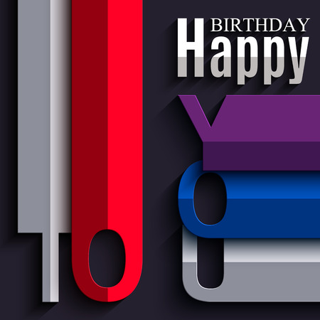 folded: Vector abstract birthday card with wishes text in the style of flat folded paper.