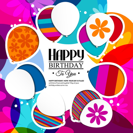 Vector birthday card with paper balloons in the style of cutouts on colorful background.
