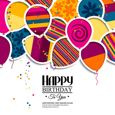 gift background: Vector birthday card with paper balloons in the style of cutouts.