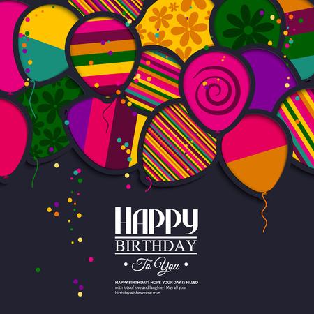 Vector tarjeta de cumpleaños con globos de papel en el estilo de recortes. Foto de archivo - 43834613