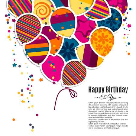 Vector birthday card with paper balloons in the style of cutouts.