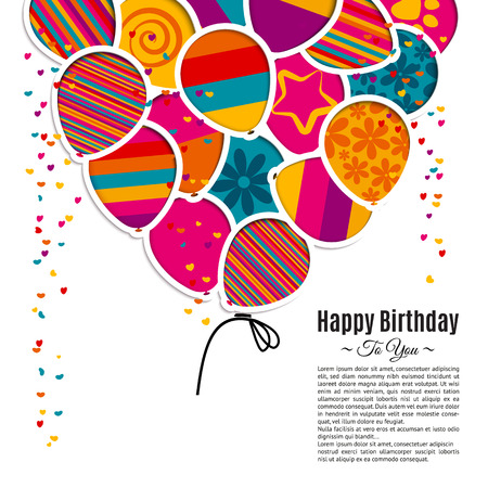 happy: Vector birthday card with paper balloons in the style of cutouts.