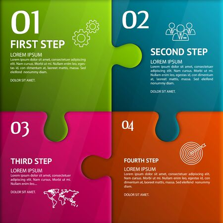 business idea: Puzzle infographic. Template with explanatory text field for business statistics. Illustration