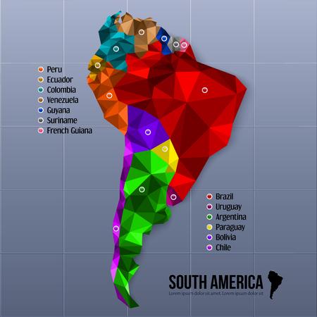 america del sur: Mapa de América del Sur que muestra los estados en estilo poligonal.