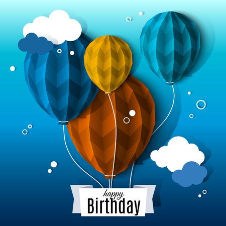 nacimiento: Tarjeta de cumpleaños con globos en el estilo de papel plegado plano.