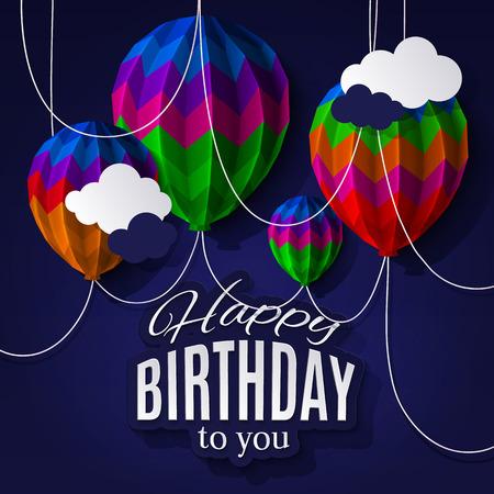 persona alegre: Tarjeta de cumpleaños con globos en el estilo de papel doblado.