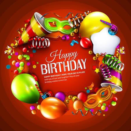 celebra: Vector tarjeta de cumpleaños con globos de colores, cintas para el cabello, máscara de carnaval, sombrero y confeti sobre fondo naranja.