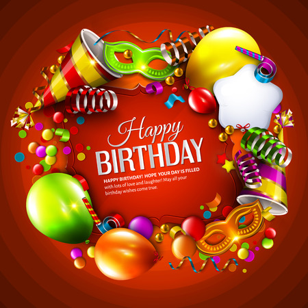 Vector birthday card with colorful balloons, curling ribbons, carnival mask, hat and confetti on orange background. Stock Illustratie