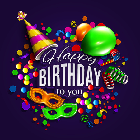 feliz: Vector tarjeta de cumpleaños con globos de colores, cintas para el cabello, máscara de carnaval, sombrero y confeti.