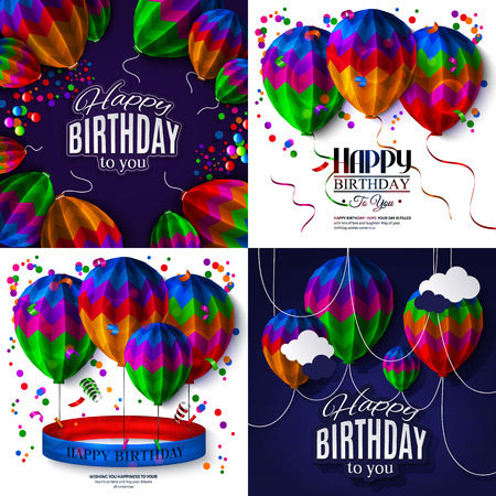folded paper: Set of birthday cards with balloons in the style of folded paper.