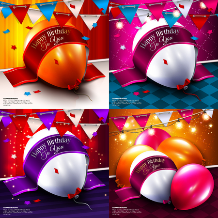 birthday cards: Set of birthday cards with colorful balloons.