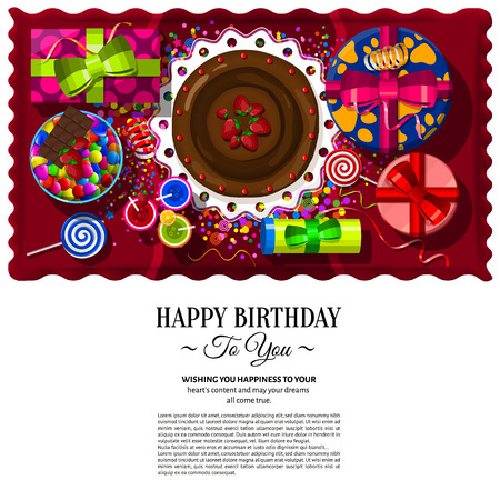 birthday candle: Party table, with cake, gift boxes, candy dish, cocktail, lollipop and confetti. Illustration