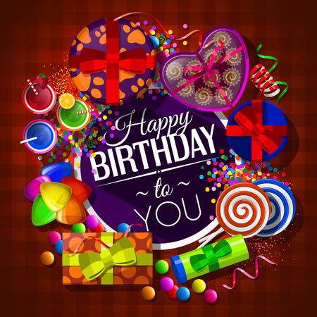 celebração: Cartão de aniversário com caixas de presente, cocktails, pirulitos, caixa de chocolates e confetes.