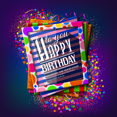 Birthday card. Frames with colorful textures and wishing text on multicolored background and confetti.