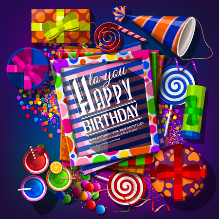 marco cumpleaños: Tarjeta de cumpleaños con cajas de regalo, cócteles, paletas, sombrero de fiesta, marcos y confeti