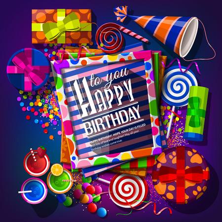 Verjaardagskaart met geschenkdozen, cocktails, lolly's, feestmuts, frames en confetti