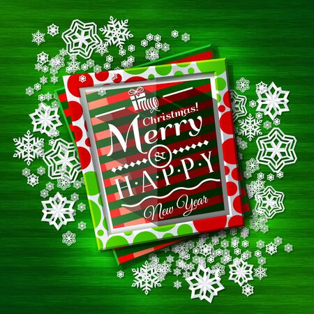 new year photo frame: Christmas card. Frames with colorful textures and wishing text, paper snowflakes on green background. Illustration