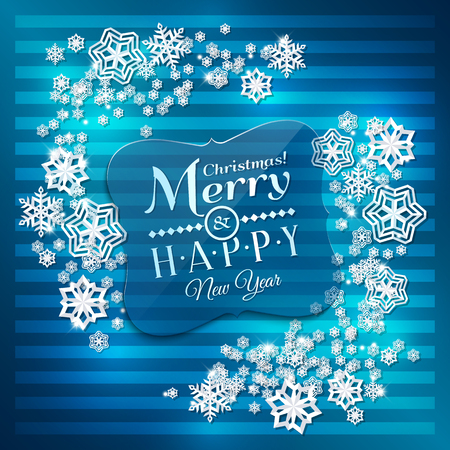 the snowflake: Christmas card. Paper snowflakes on blue background.