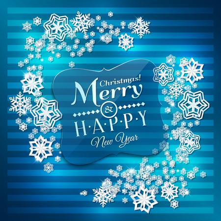 copo de nieve: Tarjeta de Navidad. los copos de nieve de papel sobre fondo azul.
