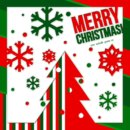 red green: Christmas card made from cutting paper, showing tree and snowflake.