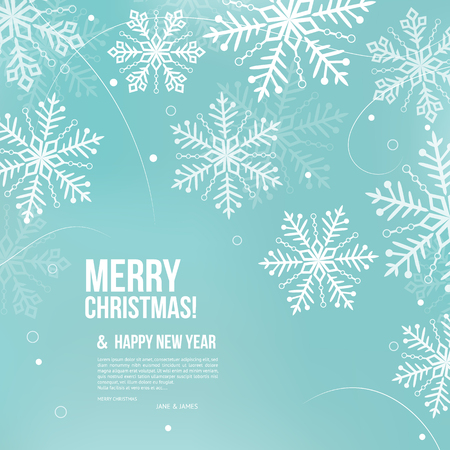 Abstract Christmas card with snowflakes and wishing text. Vectores