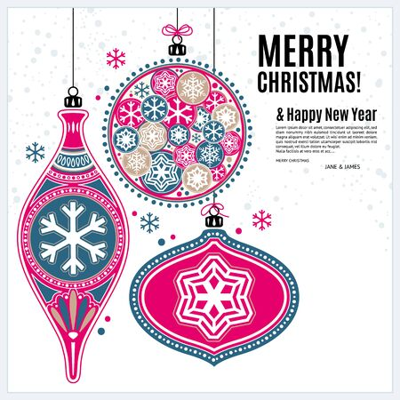 an ornament: Christmas card with ornaments xmas balls and snowflakes. Illustration
