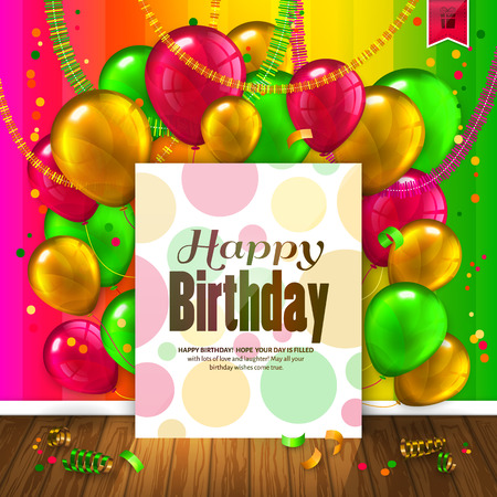 Birthday card with colorful balloons, confetti, wooden floor and paper with wishes text. Illustration
