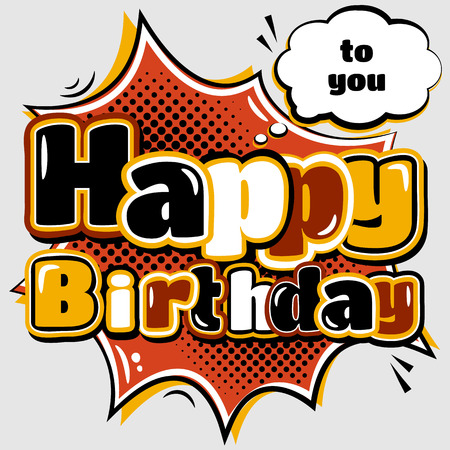 Birthday Card In Style Comic Book And Speech Bubble Royalty Free