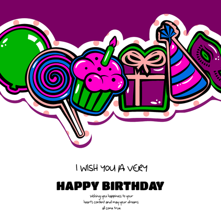 cake background: Happy Birthday card with items, balloon, cake and lollipop on dotted background.