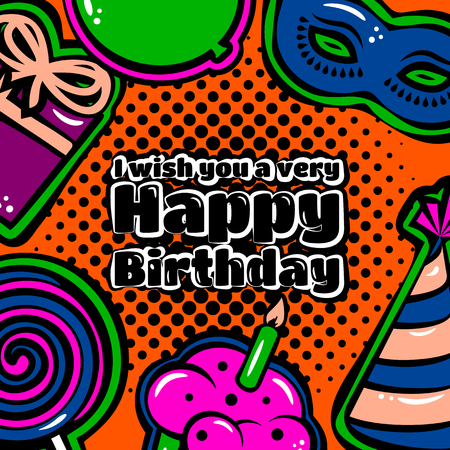Happy Birthday card with items, balloon, cake and lollipop on dotted background.
