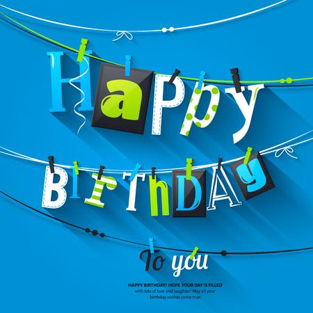 Verjaardagskaart. Wasknijper en kleurrijke letters hangen aan touw.