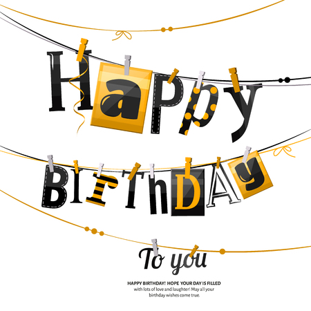 clothespin and rope: Birthday card. Clothespin and colorful letters hang on rope.