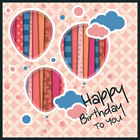 cutouts: Birthday card in the style of cutouts with balloons and clouds on retro pattern background.