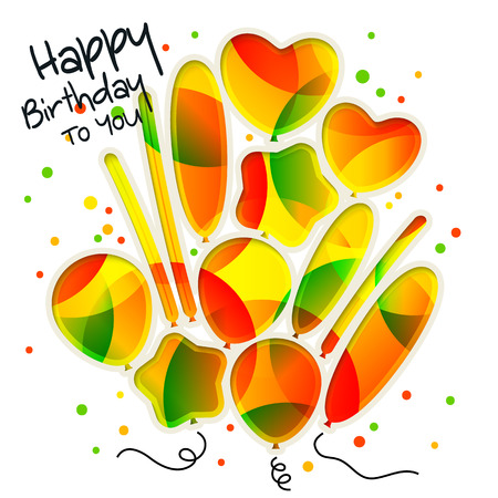 cutouts: Birthday card in the style of cutouts with colorful balloons on white background.