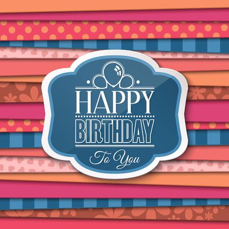 felicitaciones cumpleaÑos: saludos del feliz cumpleaños con la etiqueta en el fondo de color.