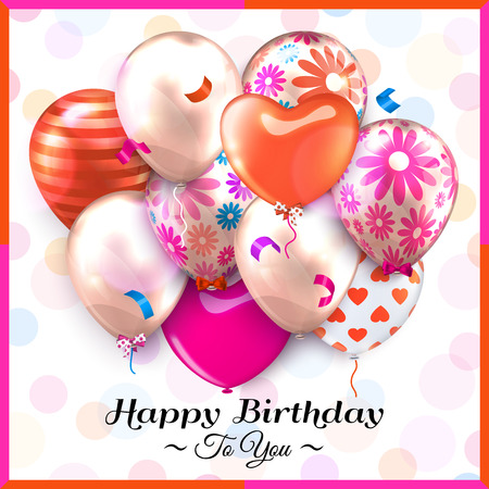 latex: Birthday card with colorful balloons and confetti. Illustration