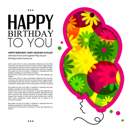 cutouts: Birthday card in the style of cutouts with balloons on colorful flowers background.