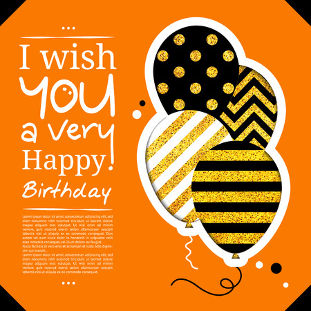 cutouts: Birthday card in the style of cutouts with balloons on golden glitter background. Illustration