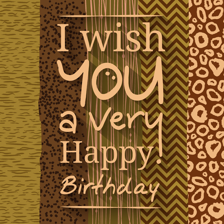 wishing card: Happy birthday greeting card. Wishing on different pattern, texture. Leopard dotted stripes chevrons.
